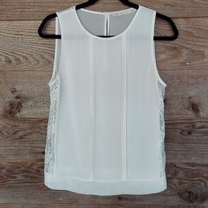 Zara Trafaluc White Sleeveless Top with Lace Sides